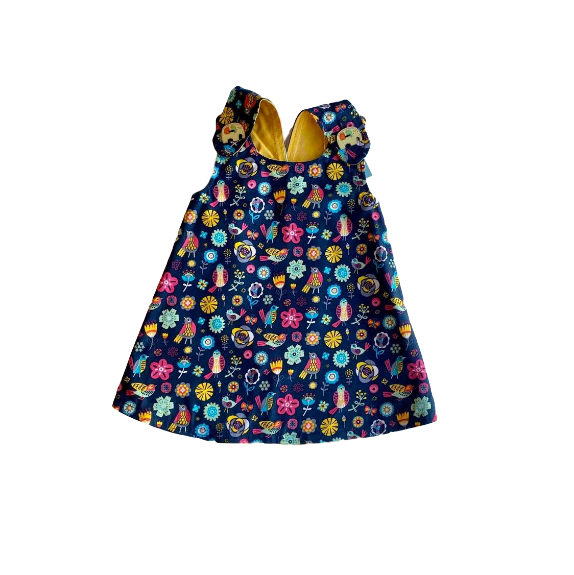 HANDMADE RANGE; Reversible Wrap Dress-  Navy flowers/Mustard