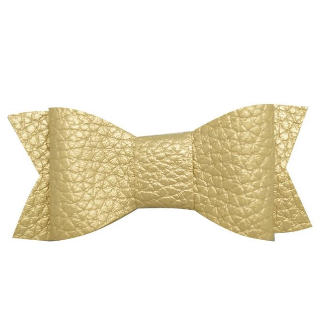Gold Leather look textured hair bow