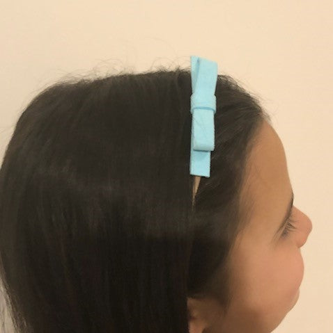 Velvet Ribbon Headband- Light Blue