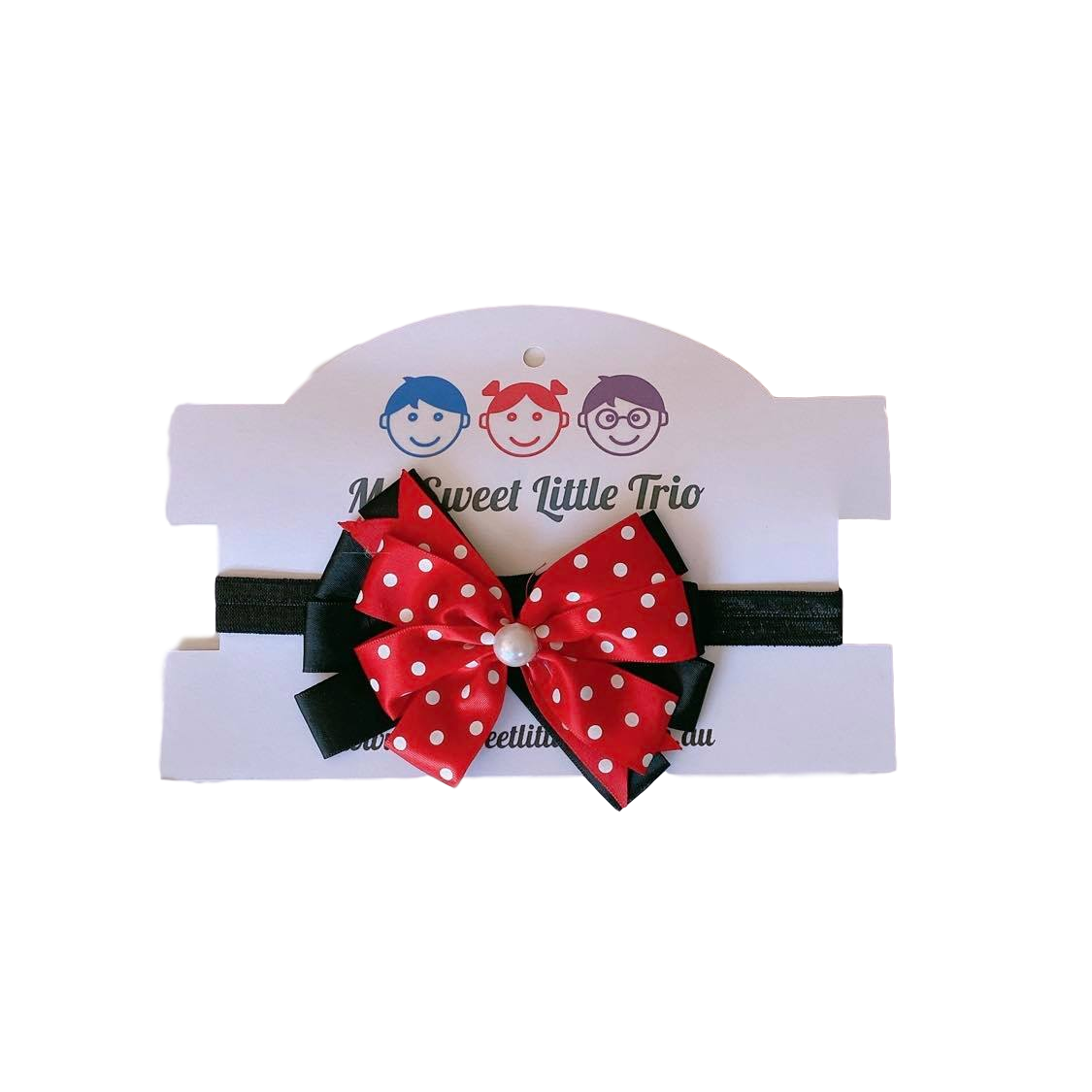 Red with white Spot Bow Headband
