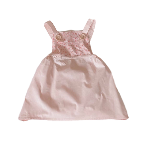 HANDMADE RANGE; Dusty Pink Floral Pinafore