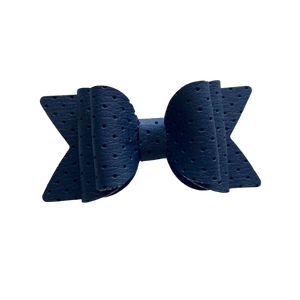 Large Blue embossed Bow Hair Clip