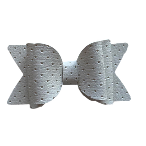 Large White embossed Bow Hair Clip