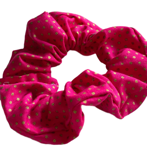 Scrunchie- Pink with Gold Spots