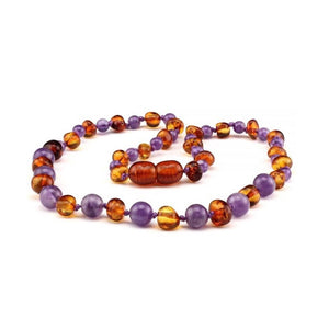 ZEBRA BABIES Baltic Amber necklace 32cms- COGNAC AND AMETHYST