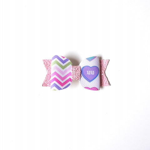 Little Love Bow hair Clip- Chevron xoxo