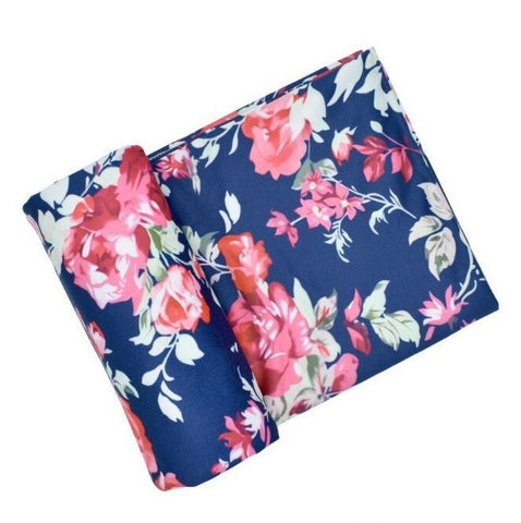 Stretch baby Swaddle wrap- Blue Floral - My Sweet Little Trio