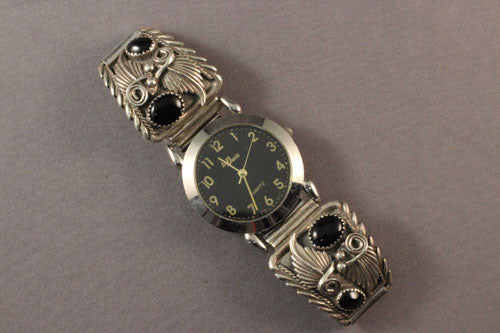 Vintage Sterling With Jet Navajo Men's Watch