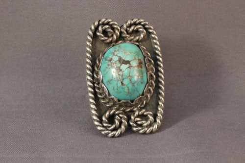 Vintage Sterling Twisted Rope Ring with Green Turquoise