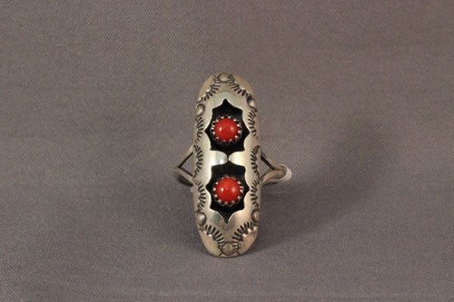 Stamped Sterling Oval Double Coral Shadow Box Ring
