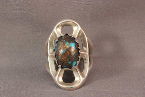 Sterling Sandcast Bisbee Turquiose Ring