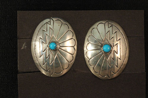 Clip-On Large Oval Sterling Navajo Button Earrings With Turquoise