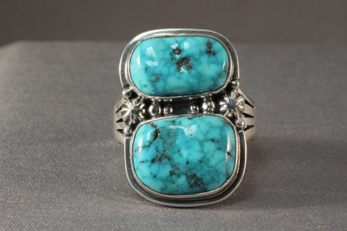 Men's Double Stone Natural Turquoise Ring