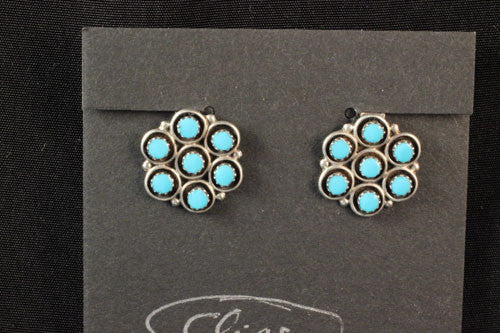 Zuni Flower Design Turquoise Clip On Earrings