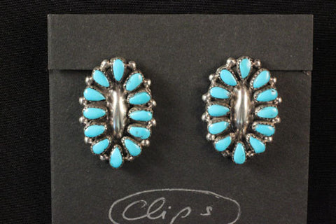 Sleeping Beauty Turquoise Petit Point Clip On Earrings