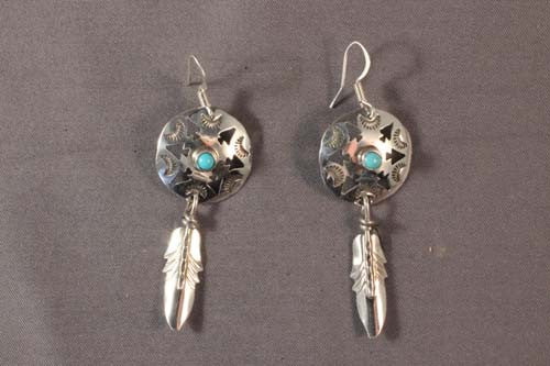 Sterling Silver Navajo Shield, Feather And Arrow Dangle Earrings