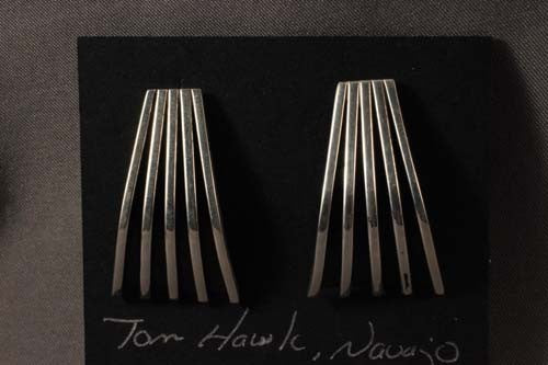 "Tom Hawks Contemporary Sterling Silver ""Fan"" Post Earrings"