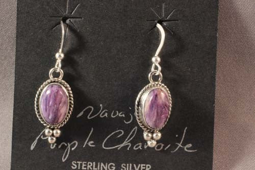 Oval Charoite Earrings