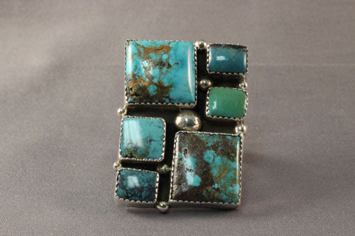 Large Multi Color Turquoise Contemporary Ring