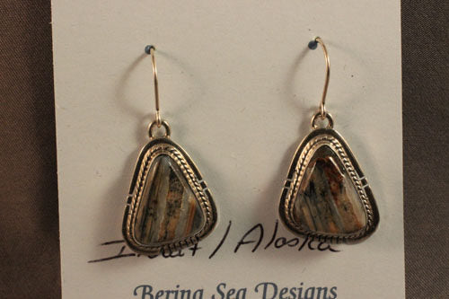 Inuit Fossilized Wooly Mammoth Tooth Triangle Dangle Earrings