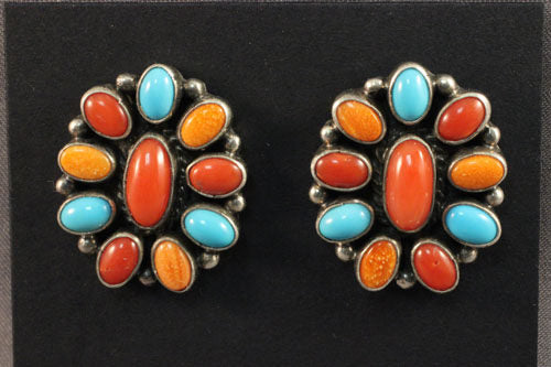 Red Coral, Turquoise and Spiny Oyster Cluster Earrings