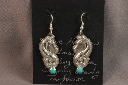 Shane Hendren Sterling Silver And Sleeping Beauty Turquoise Horsehead Drop Earrings