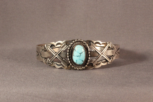 Harvey House Style Arrowhead Bracelet With Golden Hills Turquoise
