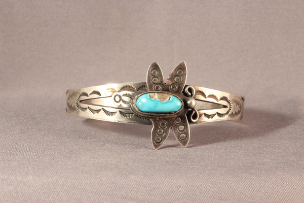 Harvey House Style Sterling Bracelet With Kingman Turquoise Set In A Butterfly Design