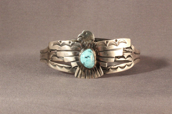 Harvey House Thunderbird Tourist Style Bracelet With Golden Hills Turquoise