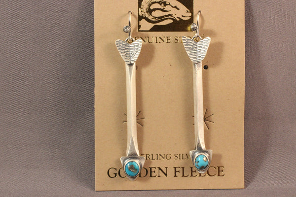 Sterling Silver Arrow Earrings With Sleeping Beauty Turquoise