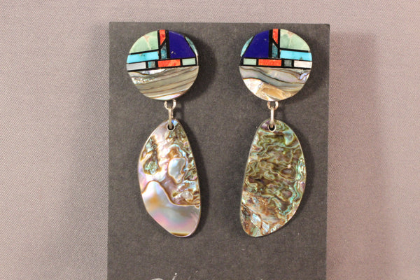 Chris Nieto Multi Stone Inlay Featuring Abalone Shell Drop Earrings