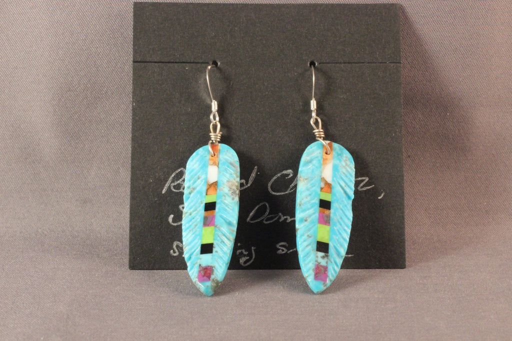 Turquoise Feather Earrings With Inlaid Stones
