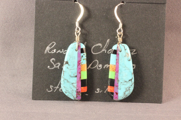 Turquoise Drop Earrings With Inlaid Stones