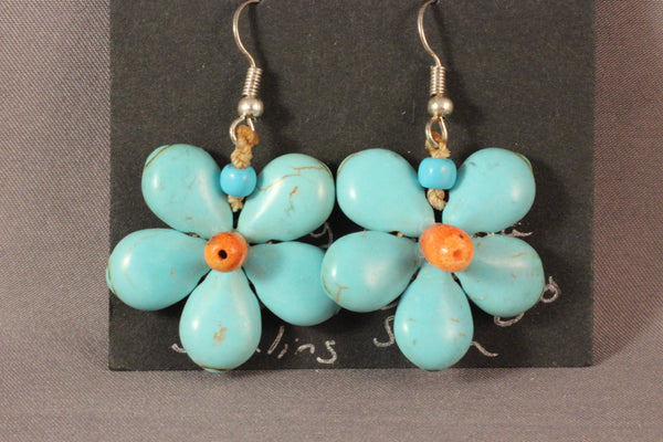 Turquoise Color Flower Earrings