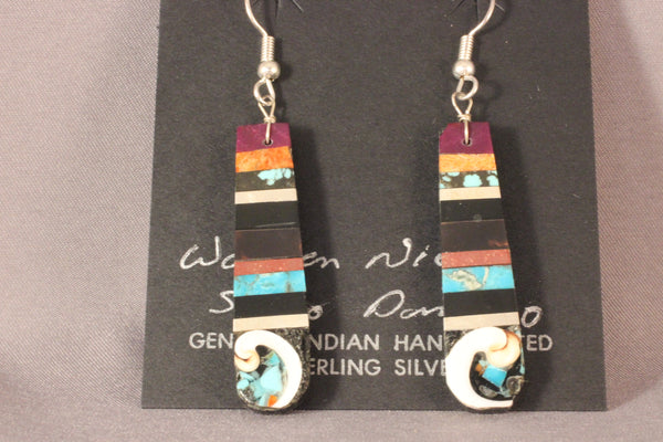 Multi Stone Drop Earrings With Shell