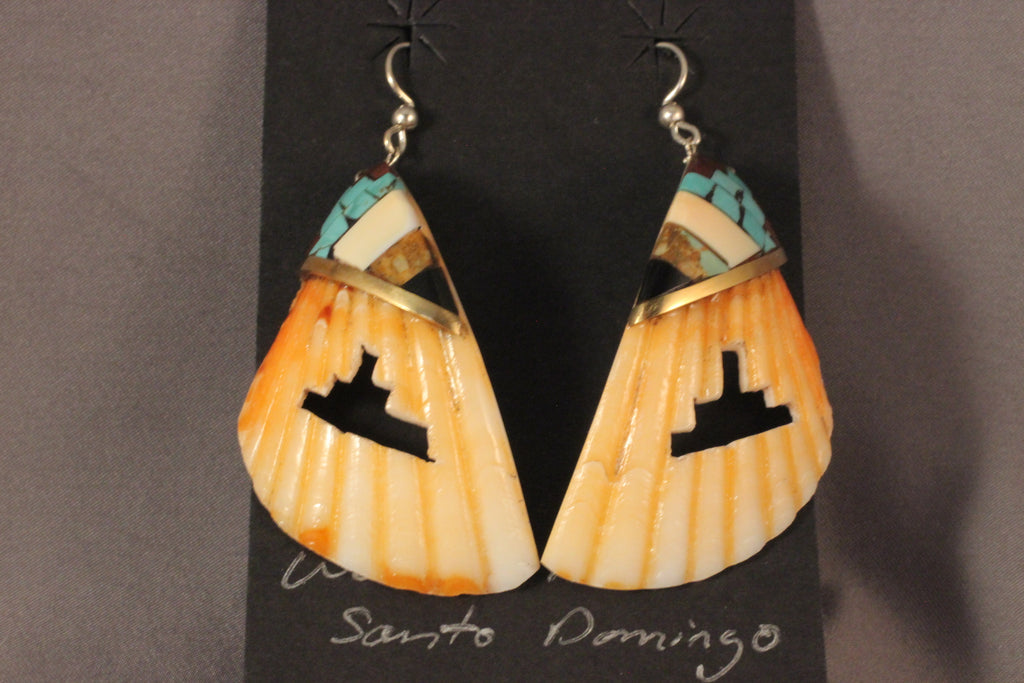 Kiva Step Cut Out Spiney Oyster Shell Earrings With Mosaic Overlay