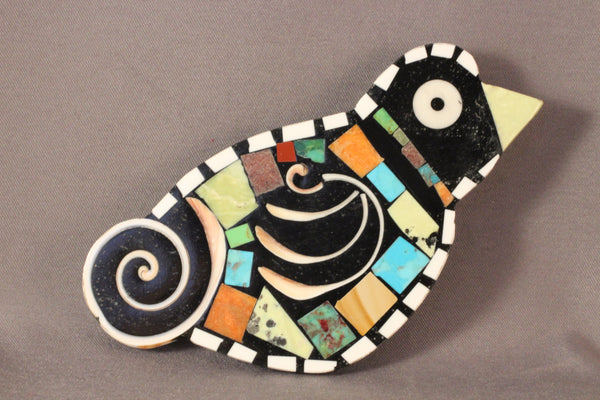 Large Bird Pendant/Pin Multi Stones And Snail Shells