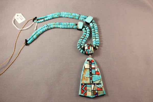 Chris Nieto Large Multi Stone Pendant On Turquoise Heishi Necklace