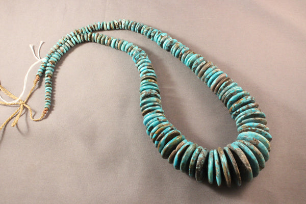 Vintage Kingman Turquoise Graduated Disk Necklace