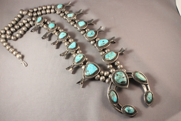 Vintage Navajo Turquoise Squash Blossom Necklace
