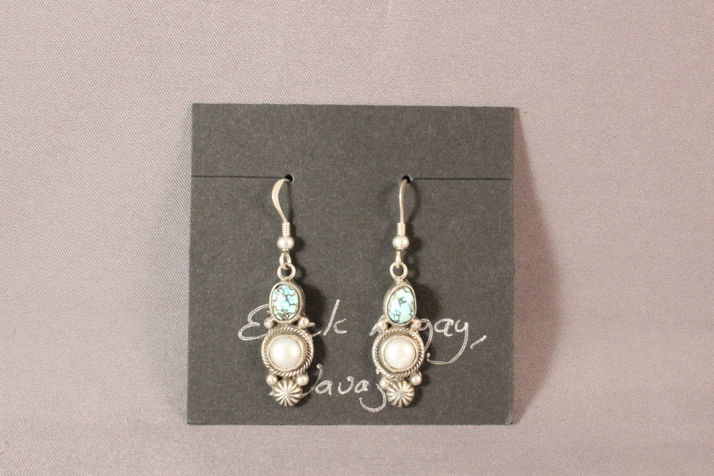 Erick Begay Turquoise And Pearl Drop Sterling Silver Earrings