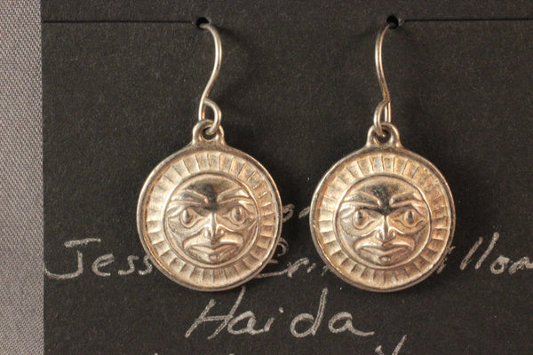 Haida Sterling Silver Moon Earrings