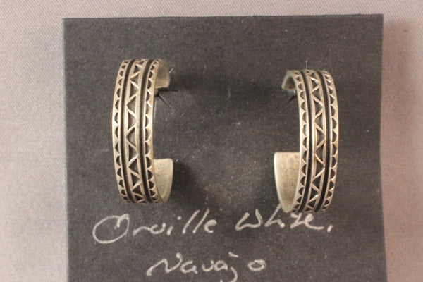 Large Sterling Sterling Silver Carved Hoop Earrings
