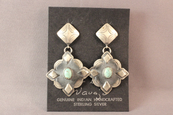 Large Sterling Silver Drop Earrings With Green Turquoise
