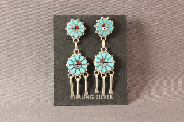 Zuni Sunface Turquoise Dangle Earrings