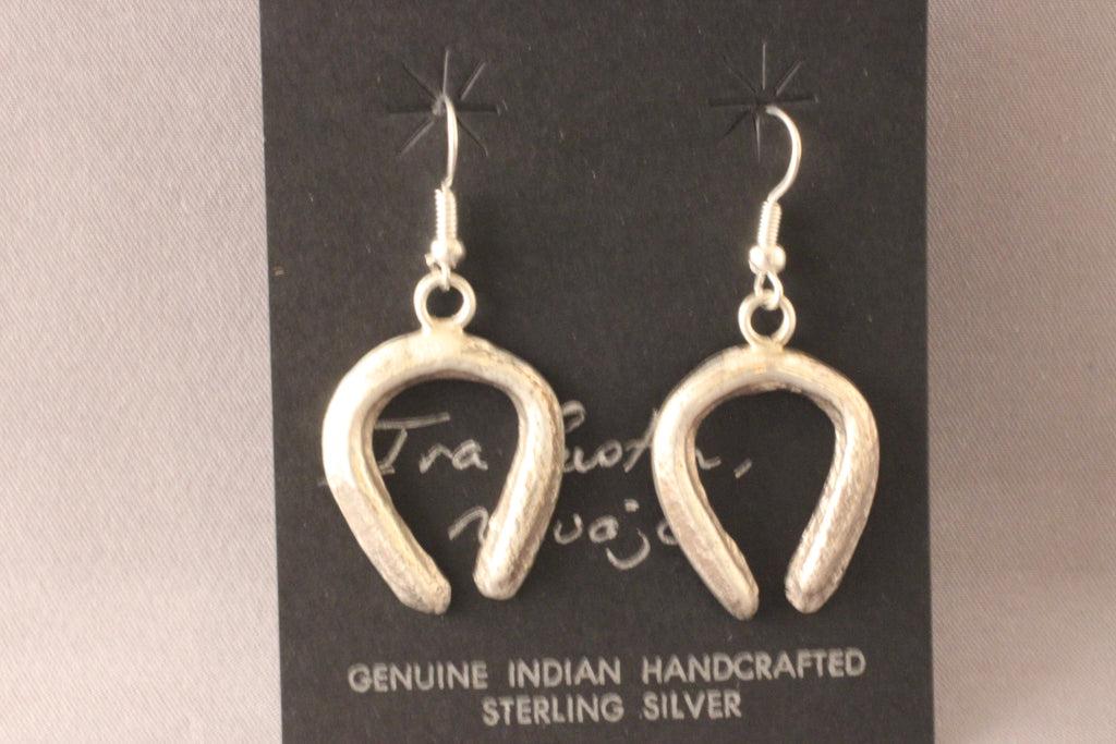 Ira Custer Sterling Silver Tufa Cast Naja Earrings