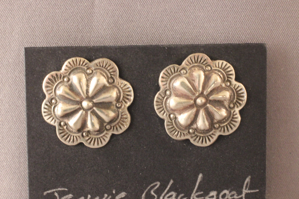 Sterling Silver Round Floral Repouse Earrings