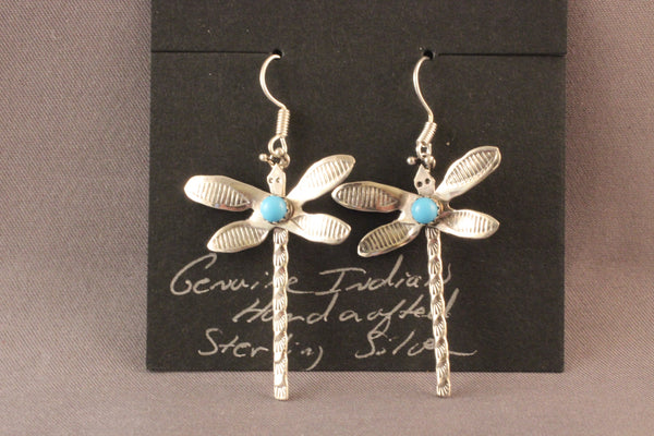Dragonfly Earrings With Turquoise