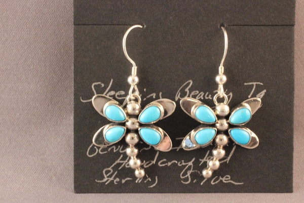 Dragonfly Earrings With Sleeping Beauty Turquoise