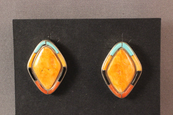 Navajo Spiney Oyster Shell, Turquoise and Black Jet Earrings